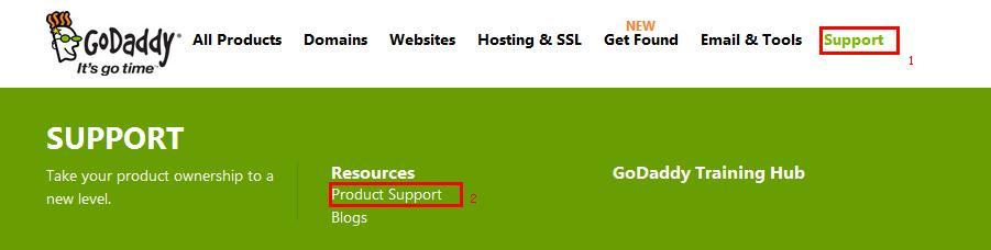 登录GoDaddy产品支持中心