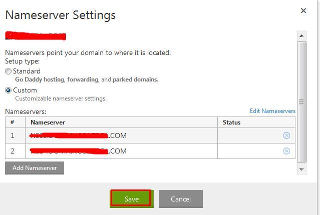 保存添加的Nameserver