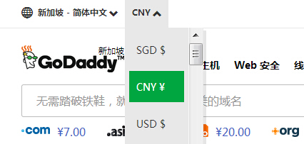 GoDaddy官网切换支付币种