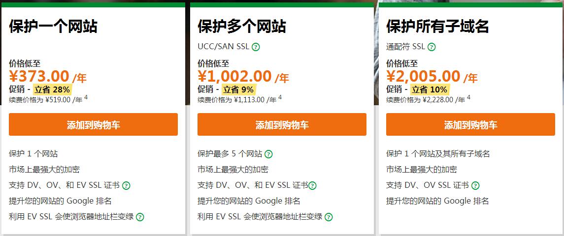 GoDaddy SSL证书产品分类