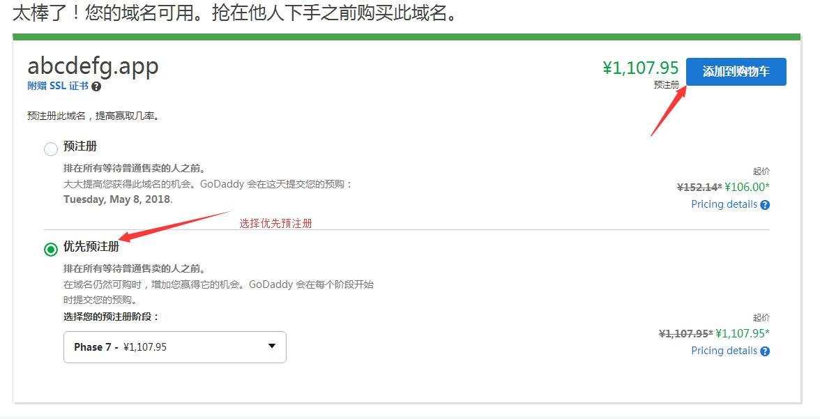 优先预注册域名