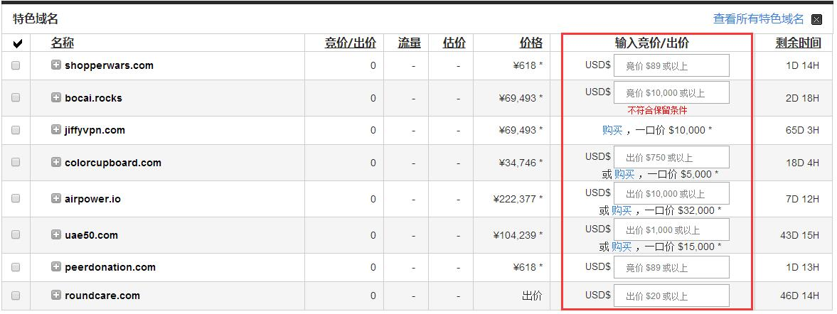 GoDaddy域名拍卖出价/还价和一口价类型的区别