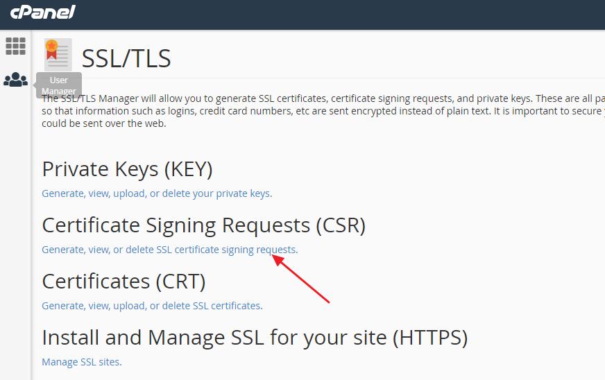 """点击"""" 生成,查看或删除SSL证书签名请求""""选项"""