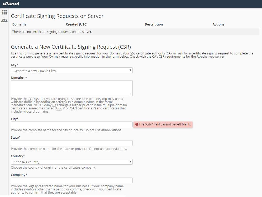 """在完成""""生成新证书签名请求(CSR)""""页面中需要填写相关正确信息"""
